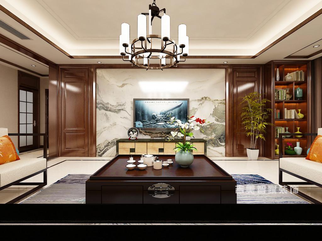 泰安紫荆城-新中式-客厅