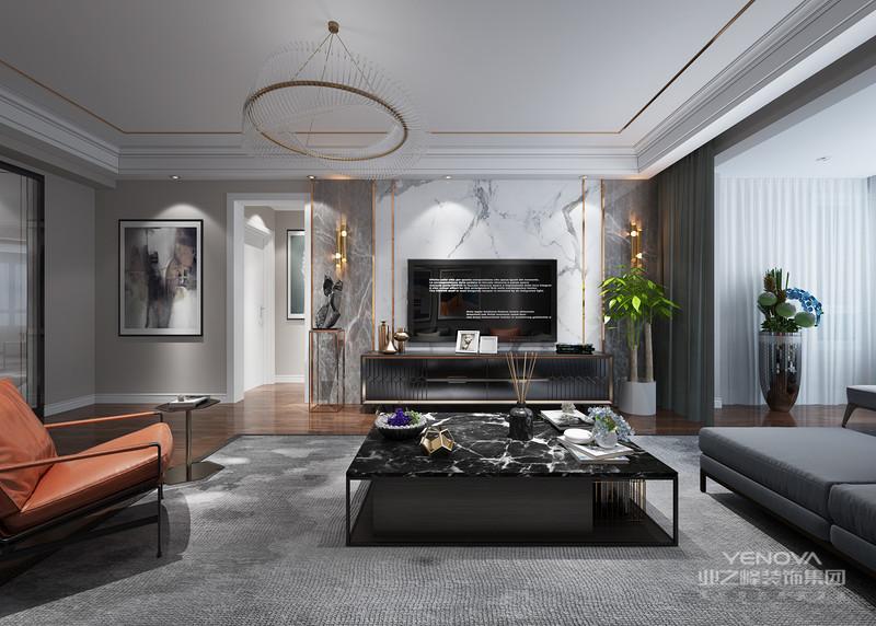 富有设计感的客厅让人眼前一亮,选材和整体色调和谐,沙发、茶几、实用大方、灯光效果配上电视背景大理石,给人一种时尚的高档感觉。