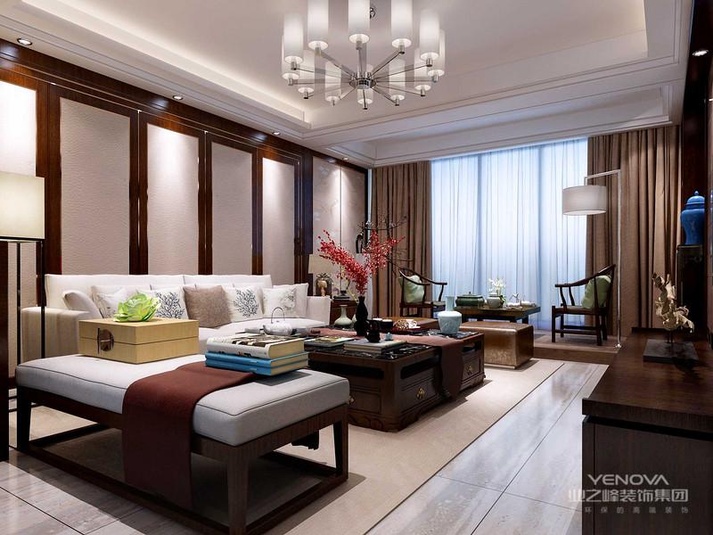 客厅整体家具既有现代简约的沙发,又有传统古典的明式家具,在家具设计上也不忘为新中式添以这厚重的一笔.