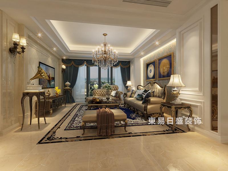 桂林彰泰•天街三居室120㎡欧式风格:客厅装修设计效果图(侧视)