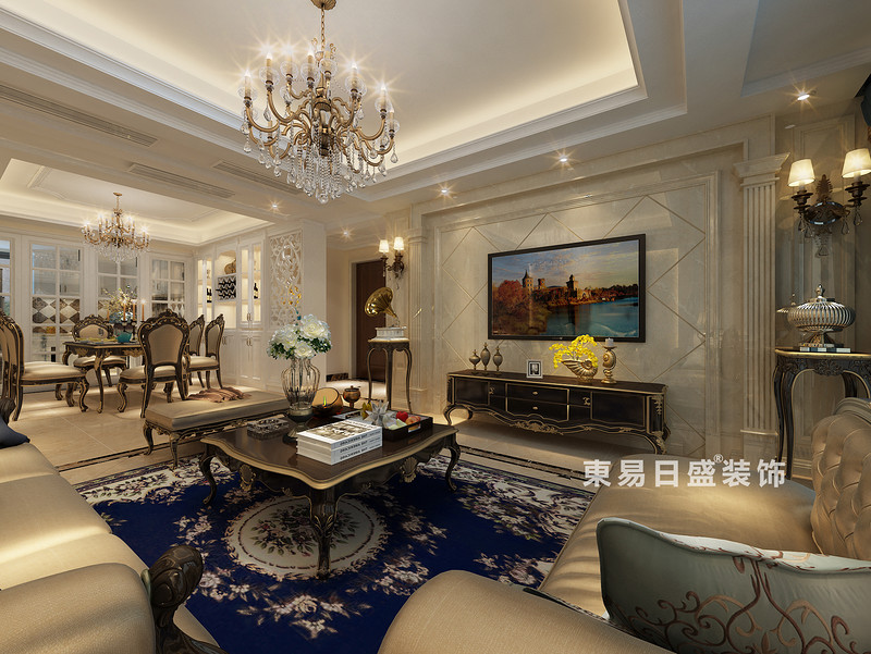 桂林彰泰•天街三居室120㎡欧式风格:客厅装修设计效果图