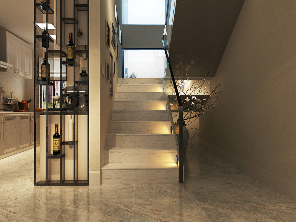 桂林荣和•林溪府复式楼260㎡现代轻奢风格:楼梯口装修设计效果图