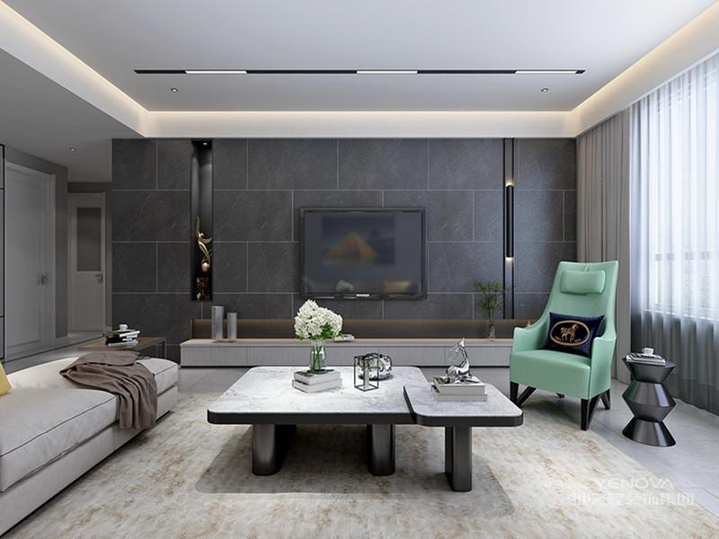 或白或灰的色调,让客厅显得既沉稳而又不失时尚。无须华丽的装饰,无须贵重的家具,简单的颜色搭配带来的明媚感将整个客厅的拘谨一扫而空。极简的黑与白,塑造优雅的同时又具有现代设计感。黑色可以和无彩色系的白、灰及有彩色系的任何色都能组合搭配;营造出千变万化的不同色彩情调。