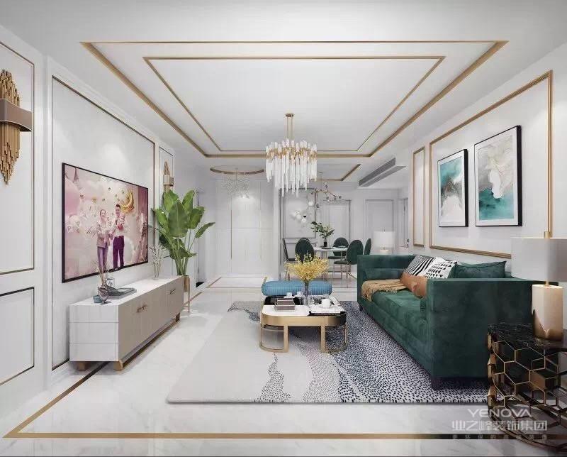 美式客厅风格较多采用嵌入式石膏吊顶,再搭配精致的水晶吊顶,从而营造出一种怀旧、浪漫的感觉。大理石主要作为地面装饰材料,光泽感极佳。在沙发区也可以铺上大幅花纹地毯,
