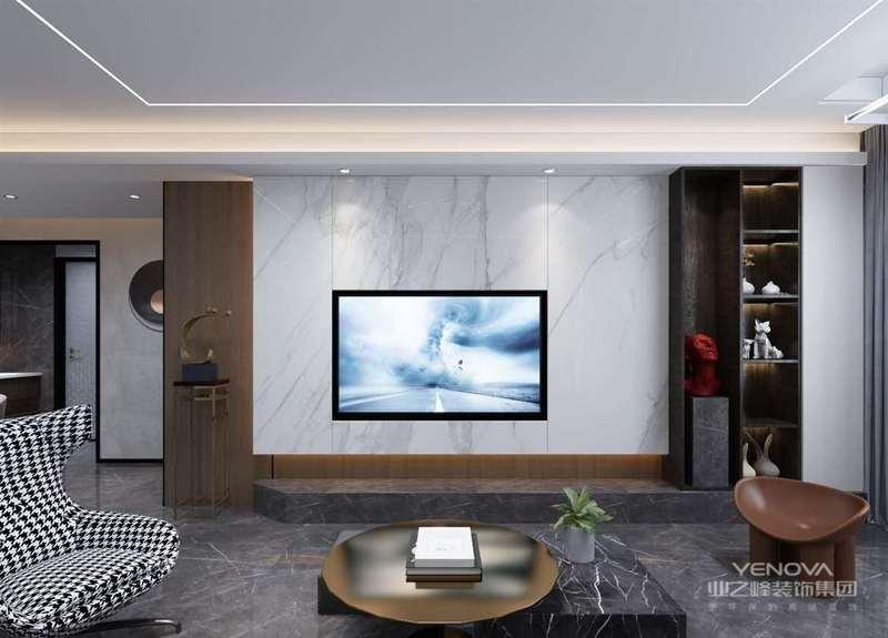 设计的电视背景,在弥补空间不足的同时,增加客厅的通透性
