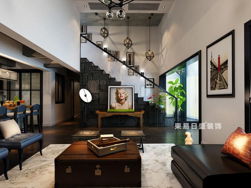 桂林鸿瑞•香格里拉花园复式楼300㎡现代风格:客厅楼梯装修设计效果图