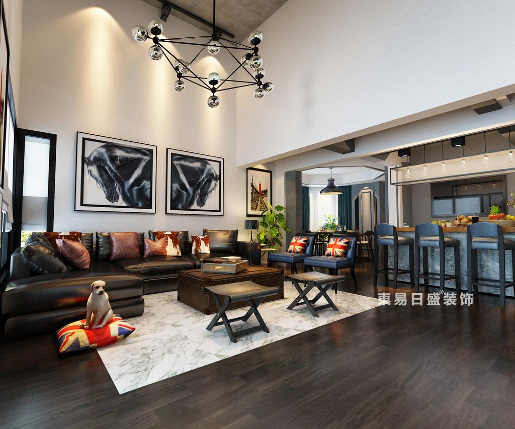 桂林鸿瑞•香格里拉花园复式楼300㎡现代风格:客厅装修设计效果图