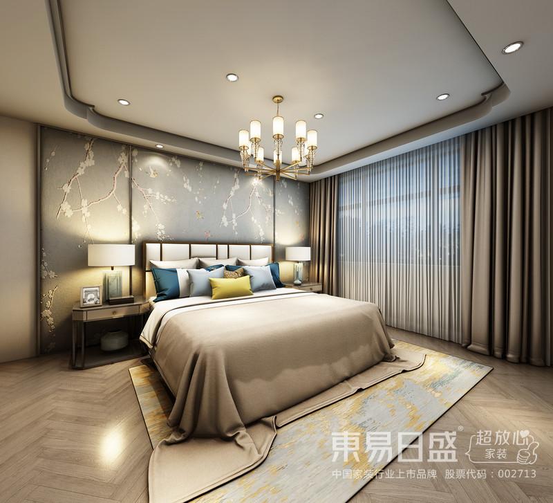 卧室 居室在色彩方面秉承了传统古典风格的素净雅致,用梅花背景与床具搭配,饰以精巧的灯具和素雅的窗纱,使整个居室在浓浓古韵中渗透了几许现代气息。