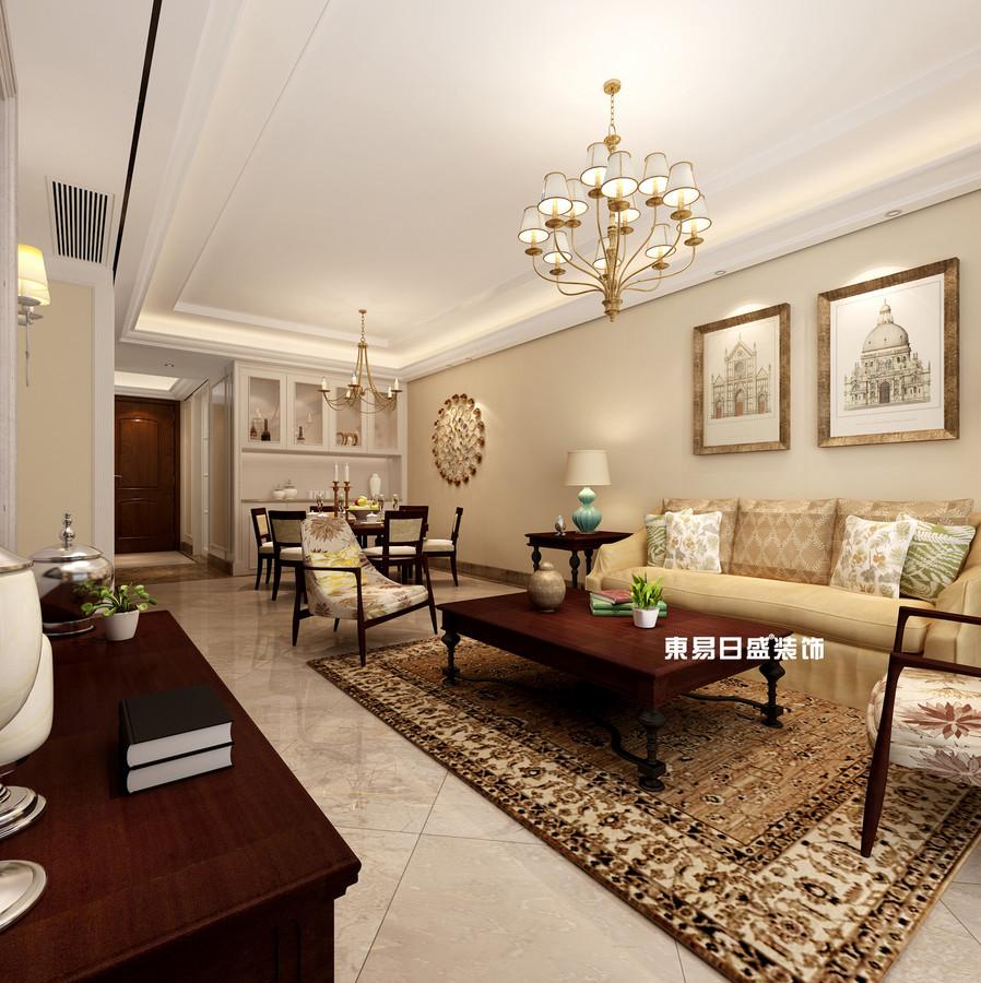 碧園印象桂林53#樣板房C戶型三房兩廳100㎡現代簡歐裝修風格:客廳餐廳裝修設計效果圖