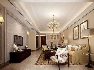 碧園印象桂林53#樣板房C戶型三房兩廳100㎡現代簡歐裝修風格