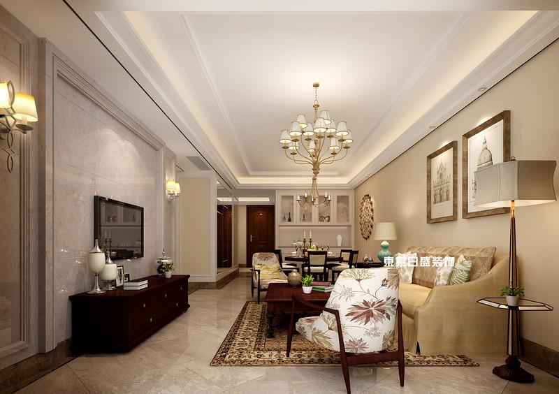 碧園印象桂林53#樣板房C戶型三房兩廳100㎡現代簡歐裝修風格:客廳裝修設計效果圖