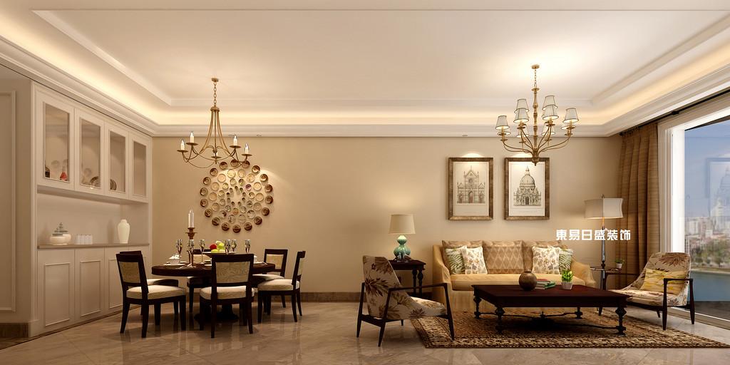 碧園印象桂林53#樣板房C戶型三房兩廳100㎡現代簡歐裝修風格:客餐廳裝修設計效果圖