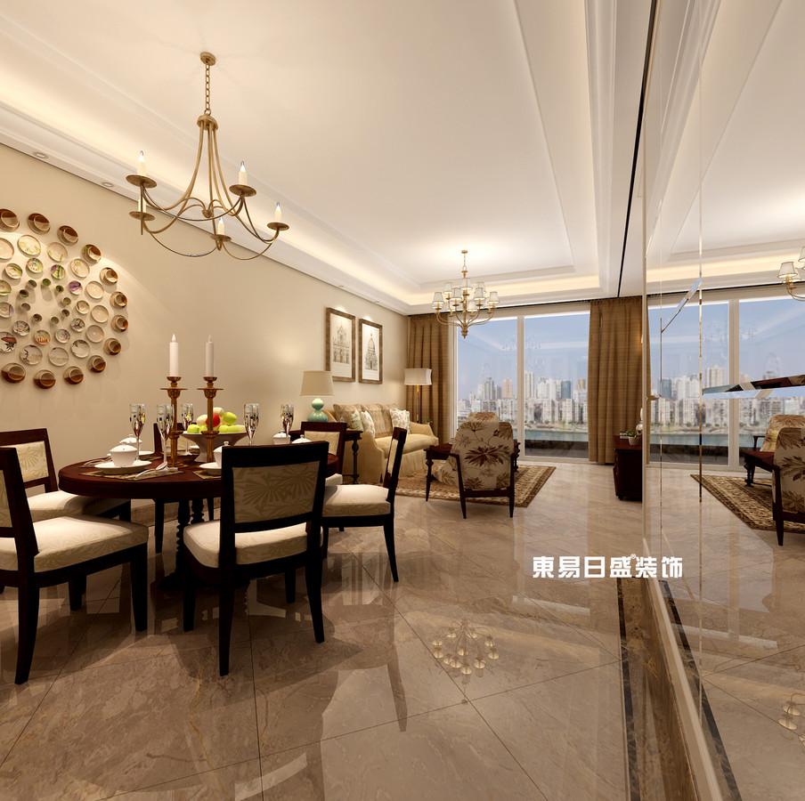 碧園印象桂林53#樣板房C戶型三房兩廳100㎡現代簡歐裝修風格:餐廳裝修設計效果圖