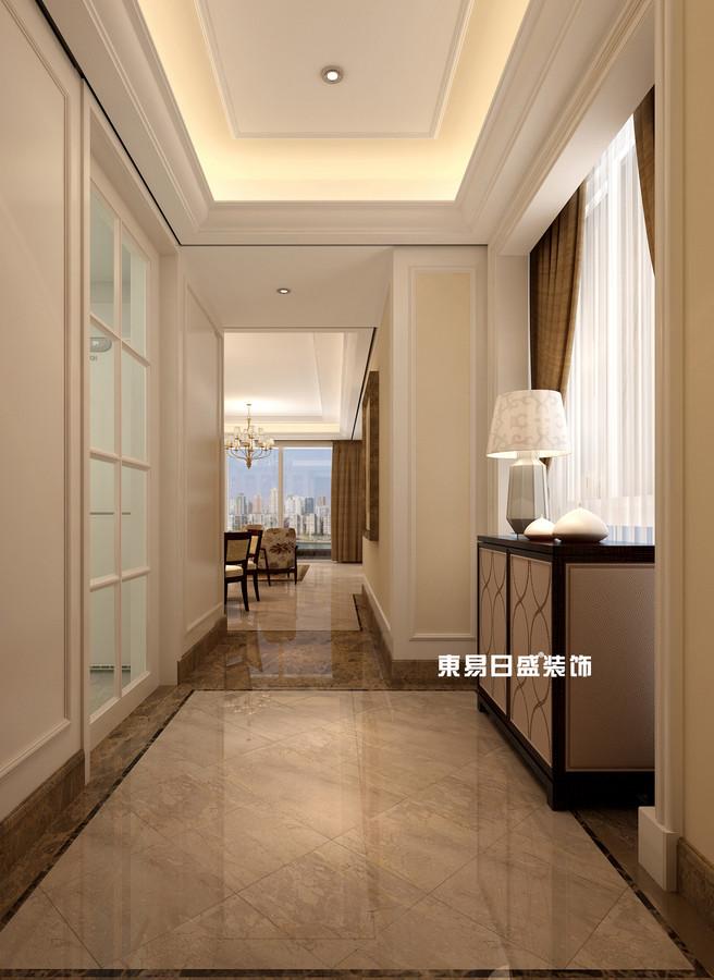 碧園印象桂林53#樣板房C戶型三房兩廳100㎡現代簡歐裝修風格:過道裝修設計效果圖