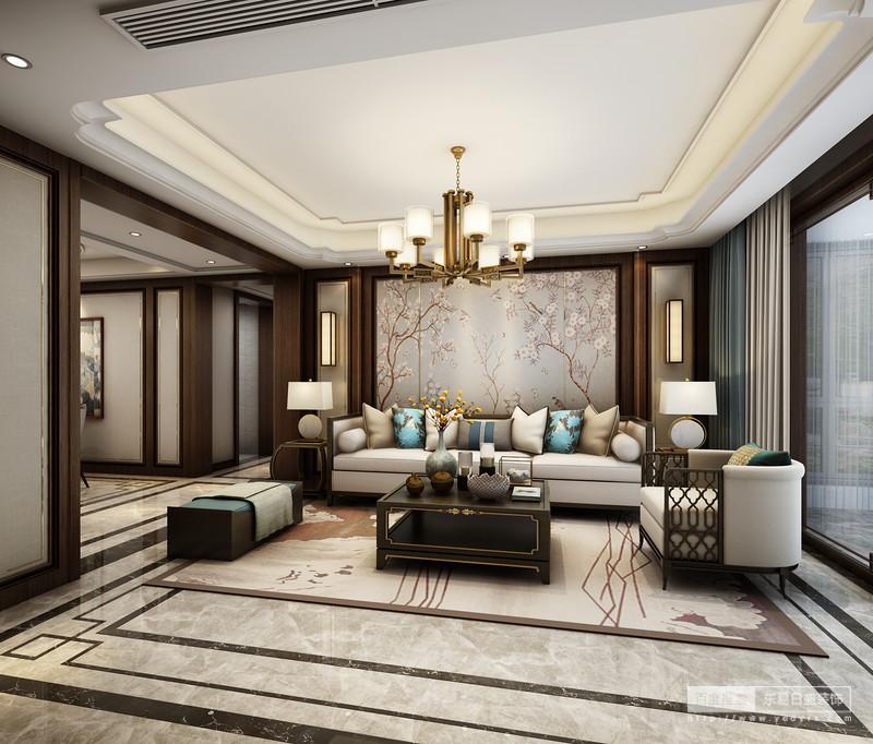 在客厅的设计上以白色的沙发、雅致的梅花背景墙,烘托出空间素雅的格调。