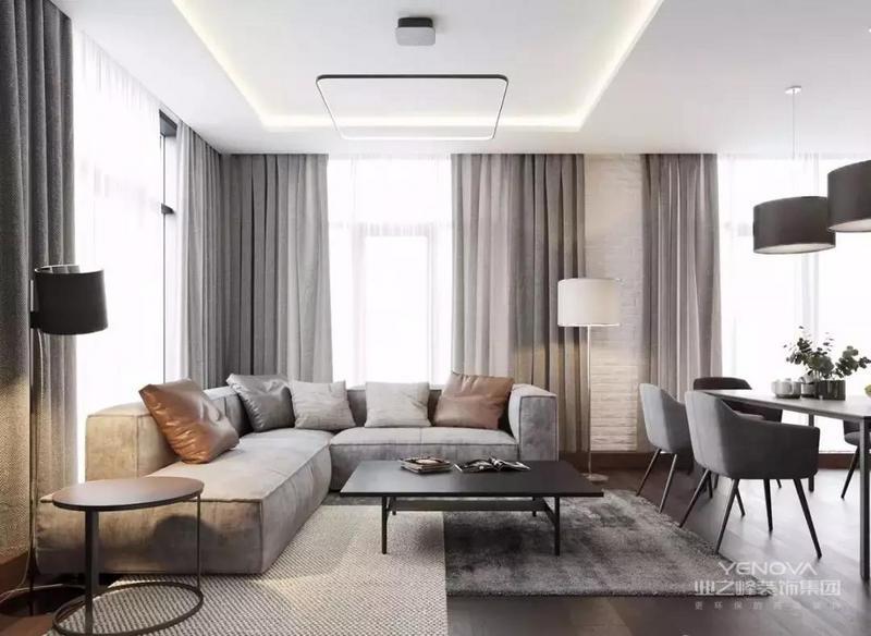 无论是布局和配色,均有很多值得借鉴的地方,从客厅开始,我们就见识了设计师在配色方面的高超之处,经典和灰色布艺沙发,和深木纹的低地板,一浅一深,形成有趣的对比。