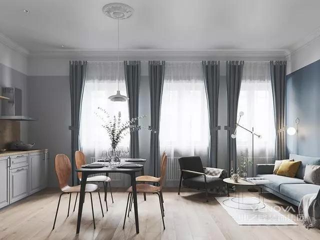 客厅整体配色是高级灰+雾霾蓝