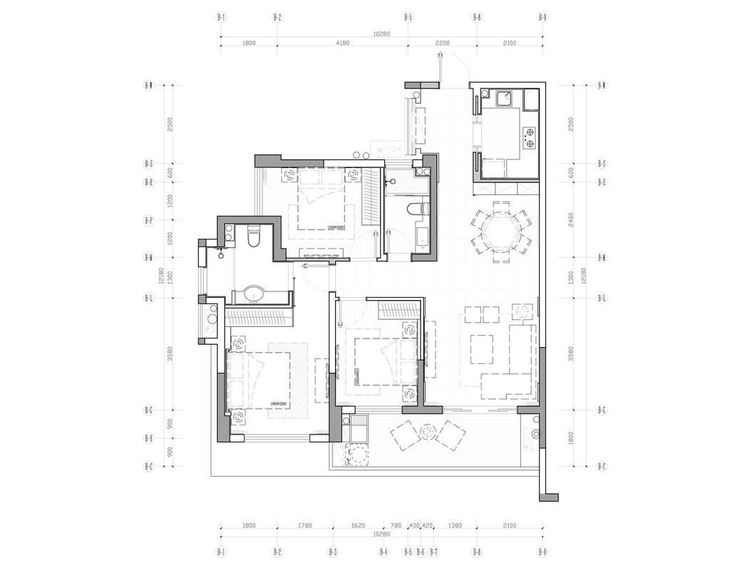 碧园印象桂林53#样板房C户型三房两厅100㎡现代简欧装修风格:平面布置图