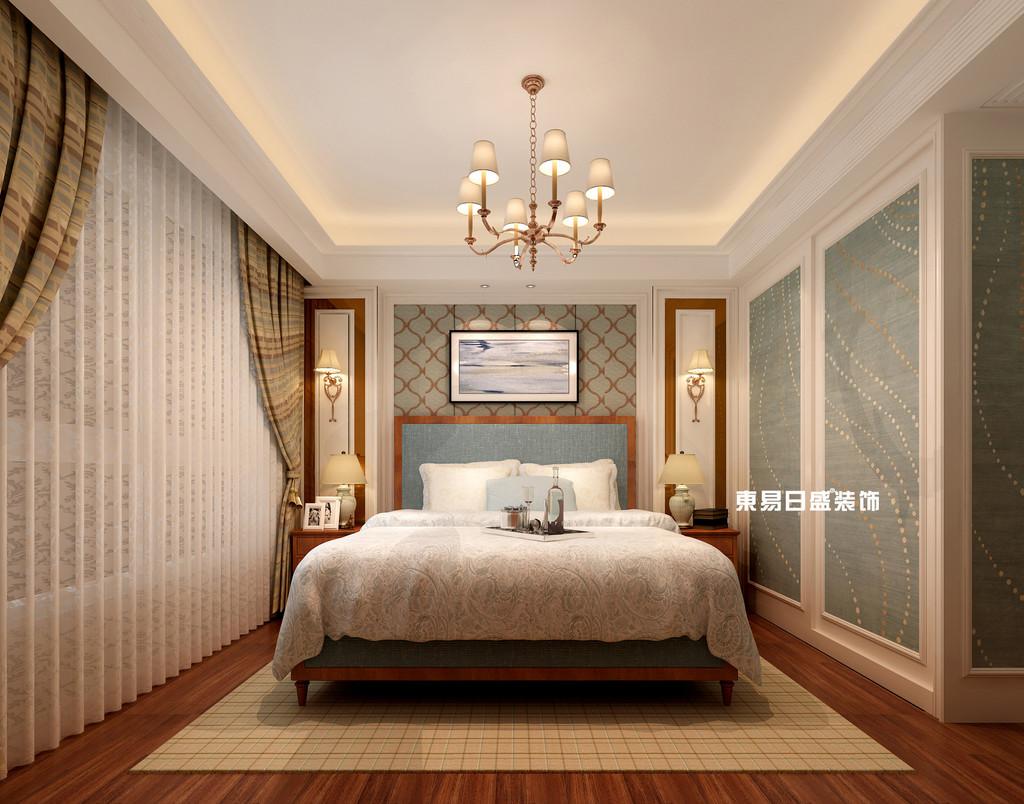 碧园印象桂林53#样板房C户型三房两厅100㎡现代简欧装修风格:主卧室装修设计效果图