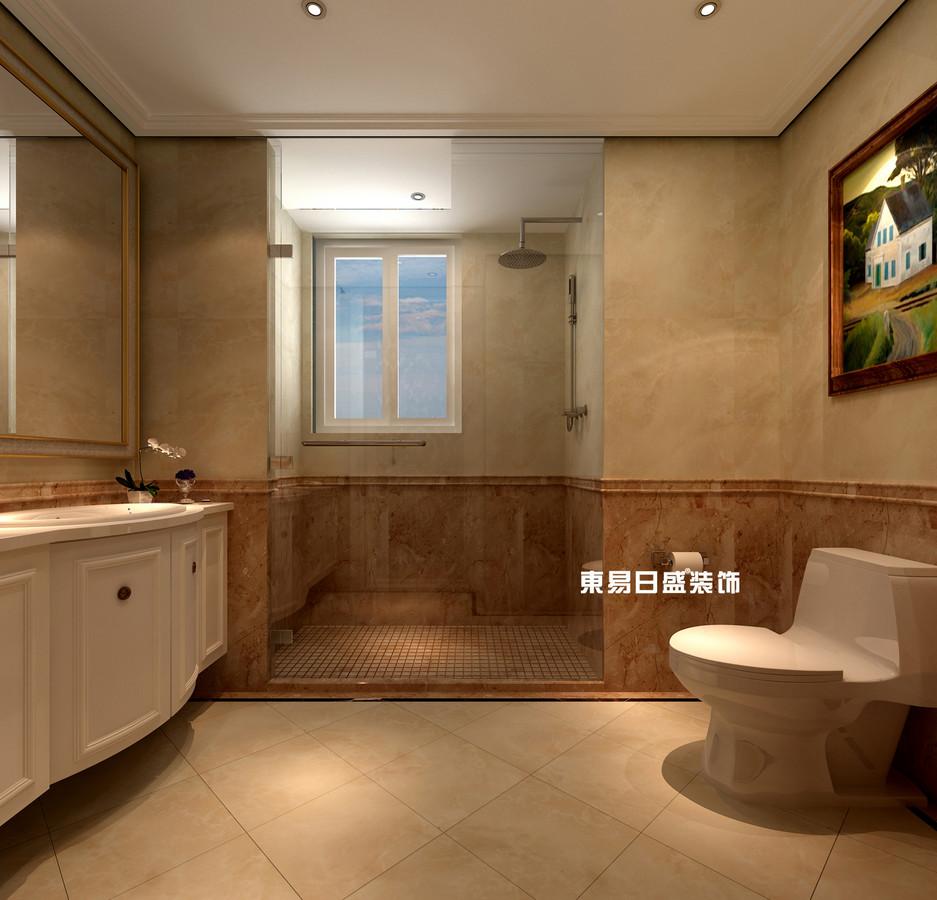 碧园印象桂林53#样板房C户型三房两厅100㎡现代简欧装修风格:主卫生间装修设计效果图