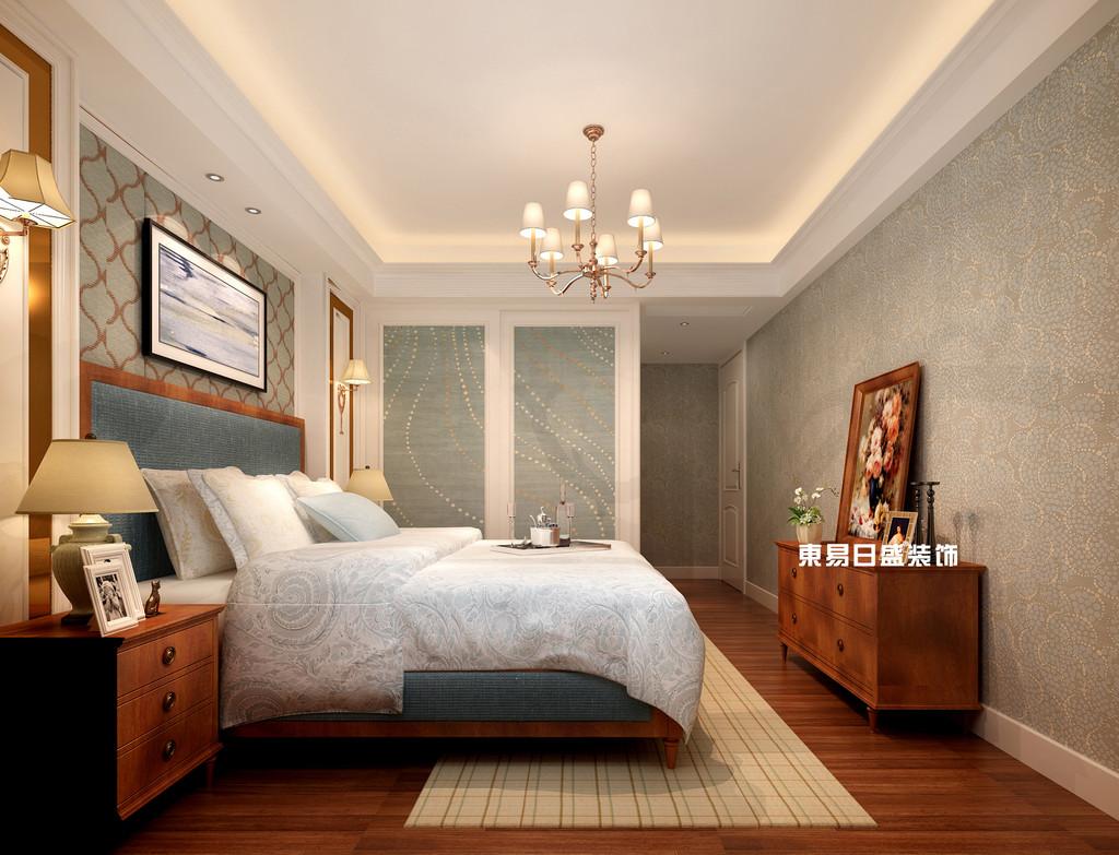 碧园印象桂林53#样板房C户型三房两厅100㎡现代简欧装修风格:主卧装修设计效果图