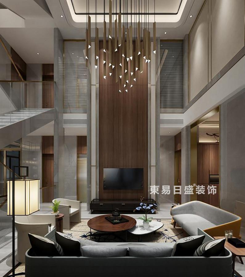 桂林金地•熙园别墅500㎡现代风格:客厅装修设计效果图(正视)