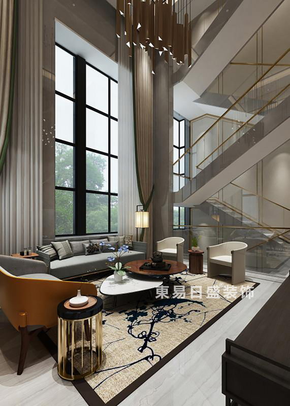 桂林金地•熙园别墅500㎡现代风格:客厅装修设计效果图
