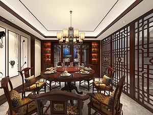 中式風格餐廳裝修效果圖