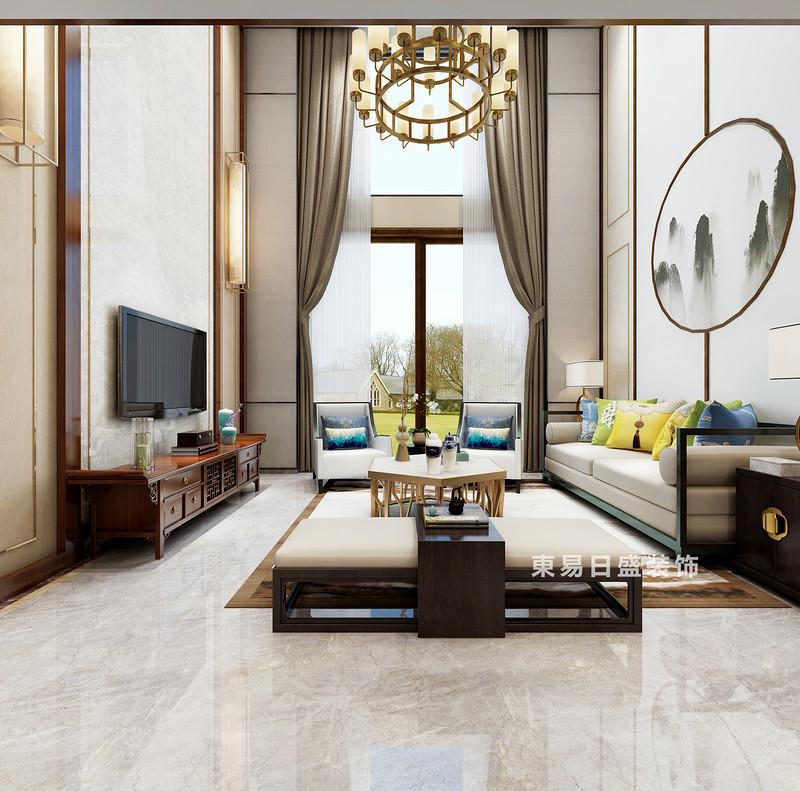 桂林复式楼220㎡新中式风格:客厅装修设计效果图