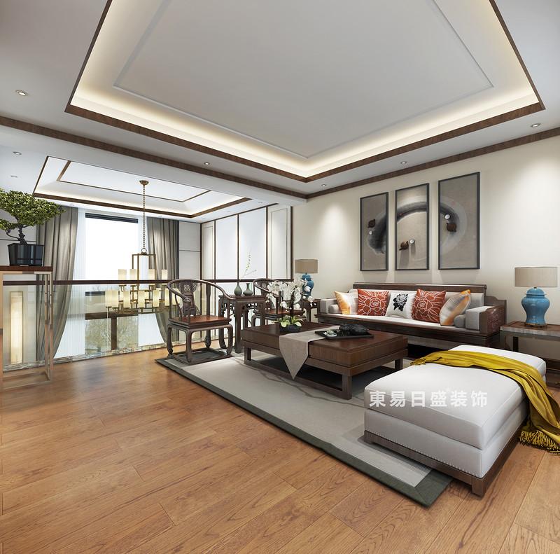 桂林复式楼220㎡新中式风格:家庭厅装修设计效果图