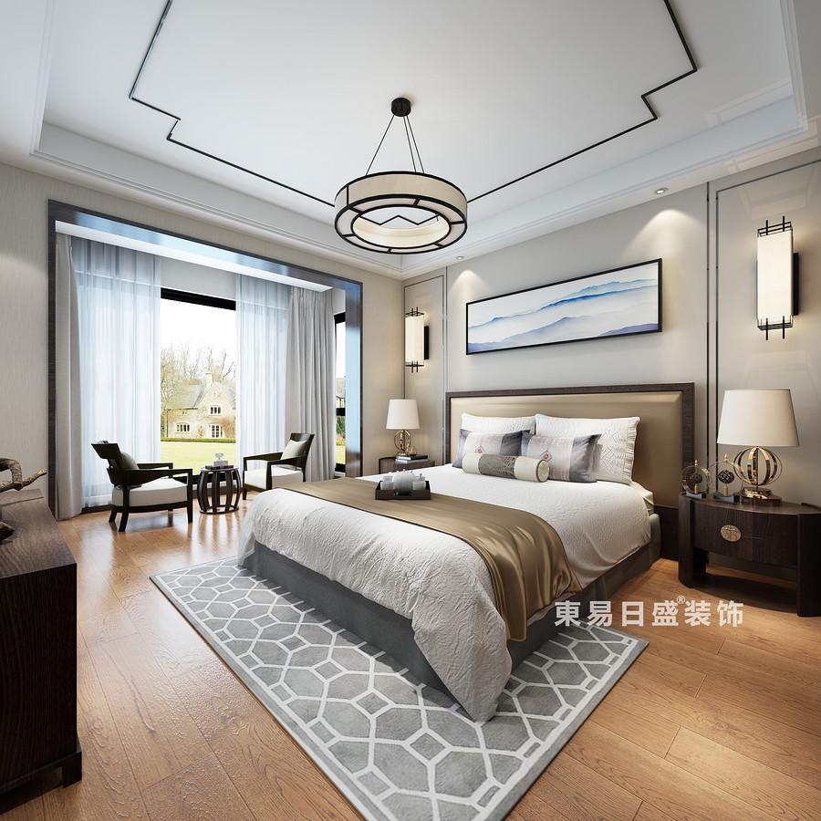 桂林复式楼220㎡新中式风格:次卧室装修设计效果图