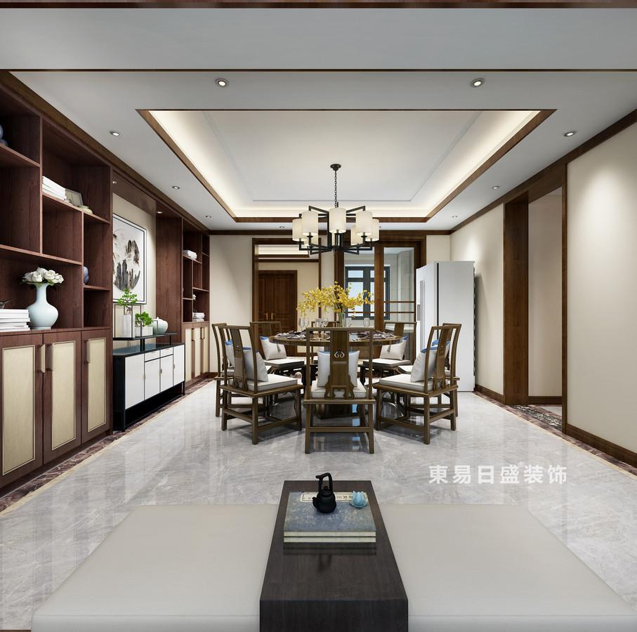 桂林复式楼220㎡新中式风格:餐厅墙柜装修设计效果图