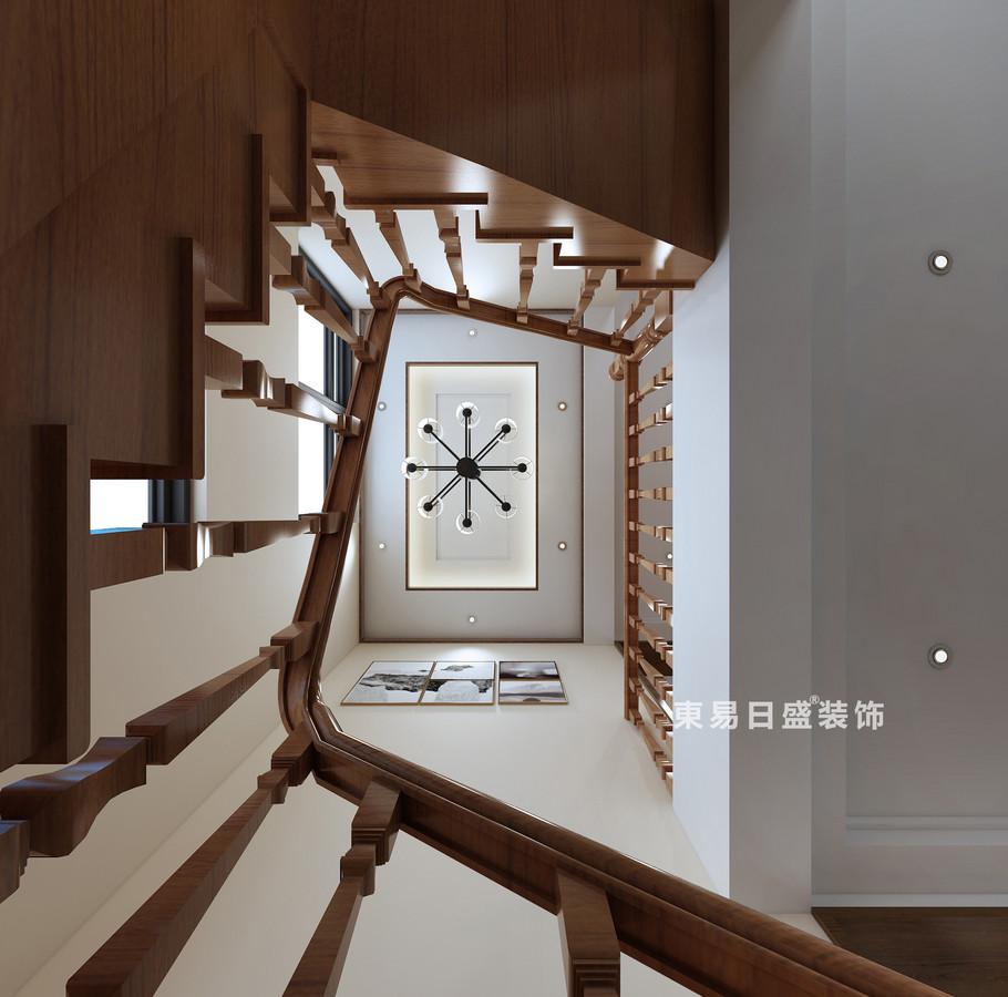 桂林复式楼220㎡新中式风格:楼梯间装修设计效果图