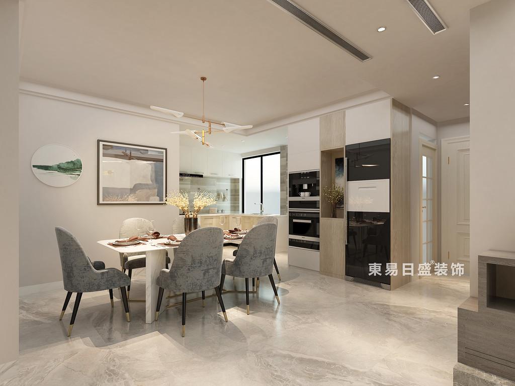 桂林冠泰•水晶城顶层复式楼250㎡现代简约风格:餐厅装修设计效果图