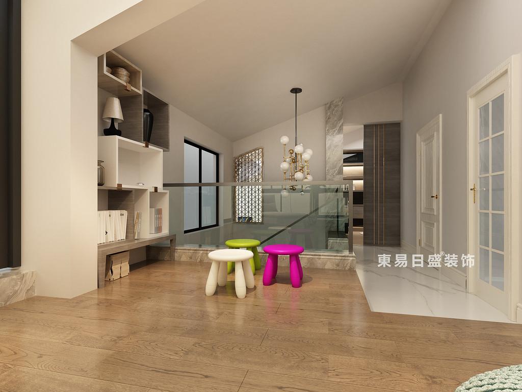 桂林冠泰•水晶城顶层复式楼250㎡现代简约风格:二楼过道装修设计效果图