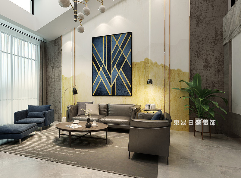 桂林冠泰•水晶城顶层复式楼250㎡现代简约风格:客厅背景墙装修设计效果图