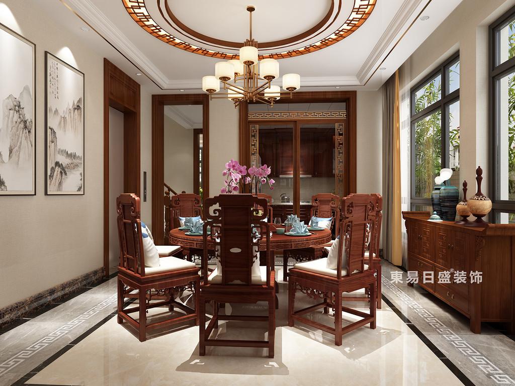 桂林信和信•原乡墅别墅600㎡中式风格:餐厅厨房装修设计效果图