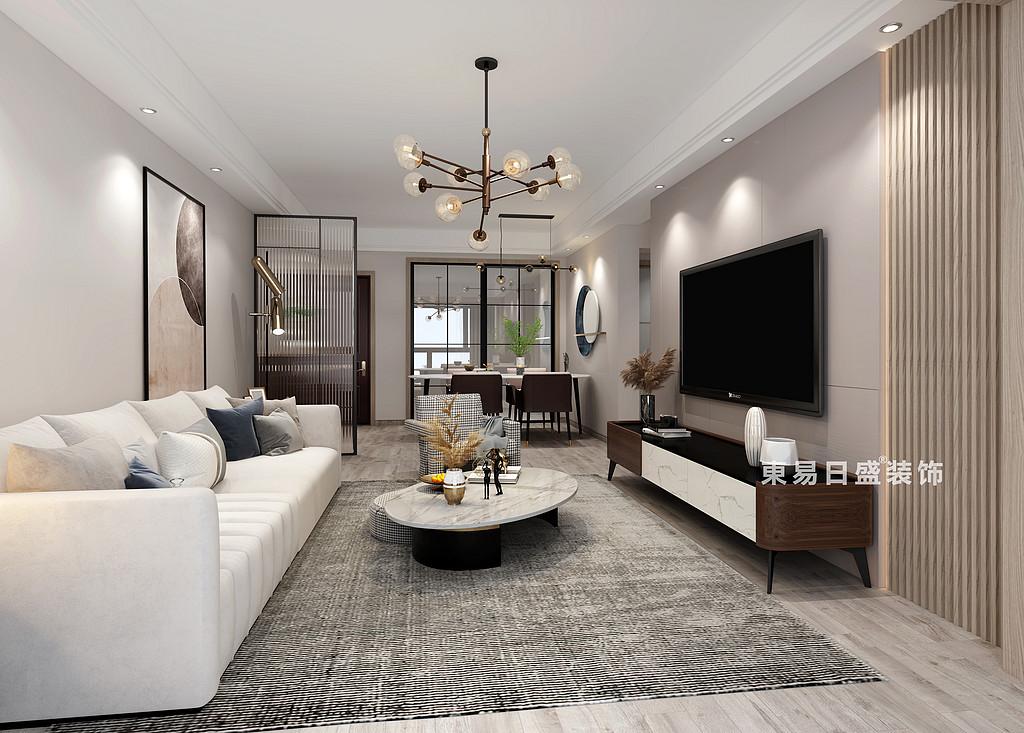 信和信•大中华养生谷三居室96㎡现代北欧风格:客厅装修设计效果图
