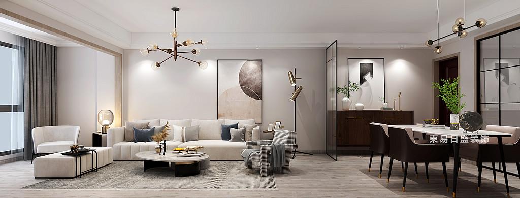 信和信•大中华养生谷三居室96㎡现代北欧风格:客厅沙发装修设计效果图