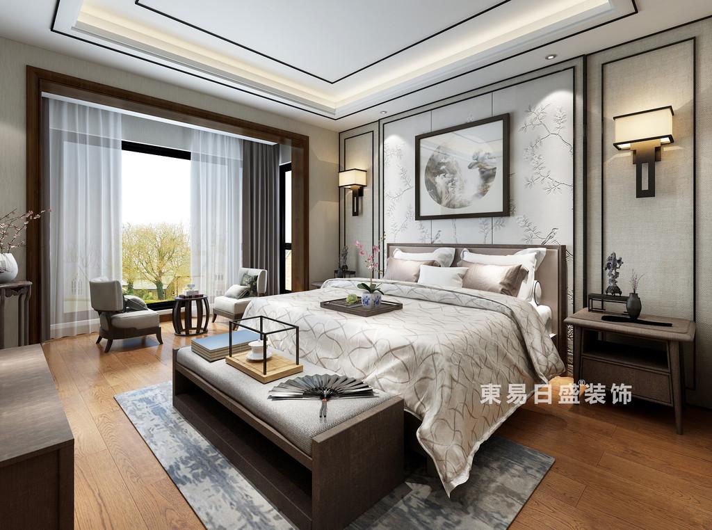 桂林复式楼220㎡新中式风格:主卧室装修设计效果图