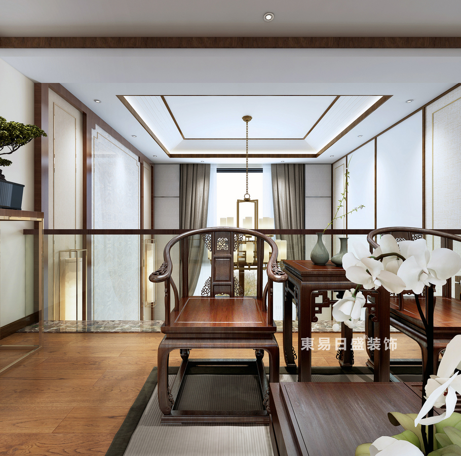 桂林复式楼220㎡新中式风格:中空装修设计效果图