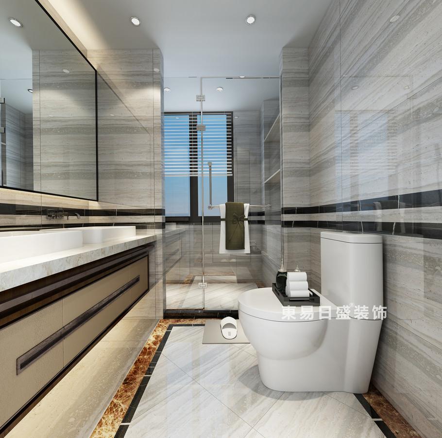 桂林复式楼220㎡新中式风格:卫生间装修设计效果图