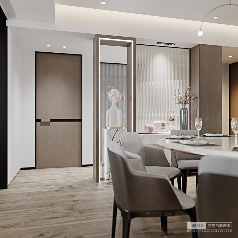 餐厅宽敞明亮,开敞式的西厨让整个略显高冷的空间与众不同,原木色的整铺木地板素雅,与黑白墙壁搭配,呈现出高级、优雅;金属元素装饰的吊顶和吊灯,蕴藏着现代质感。