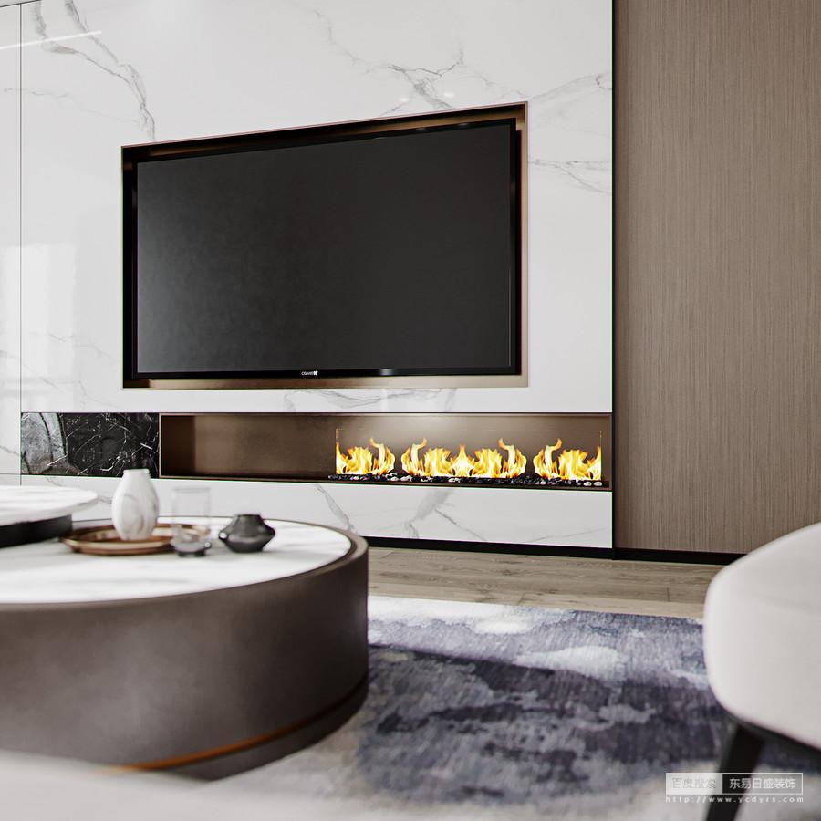 客厅在色调上以高级灰+白色为主,搭配金属色线条及暗藏式黑钛金踢脚线条,还有家具中 原木色点缀等,彰显现代人对品质生活的追求。