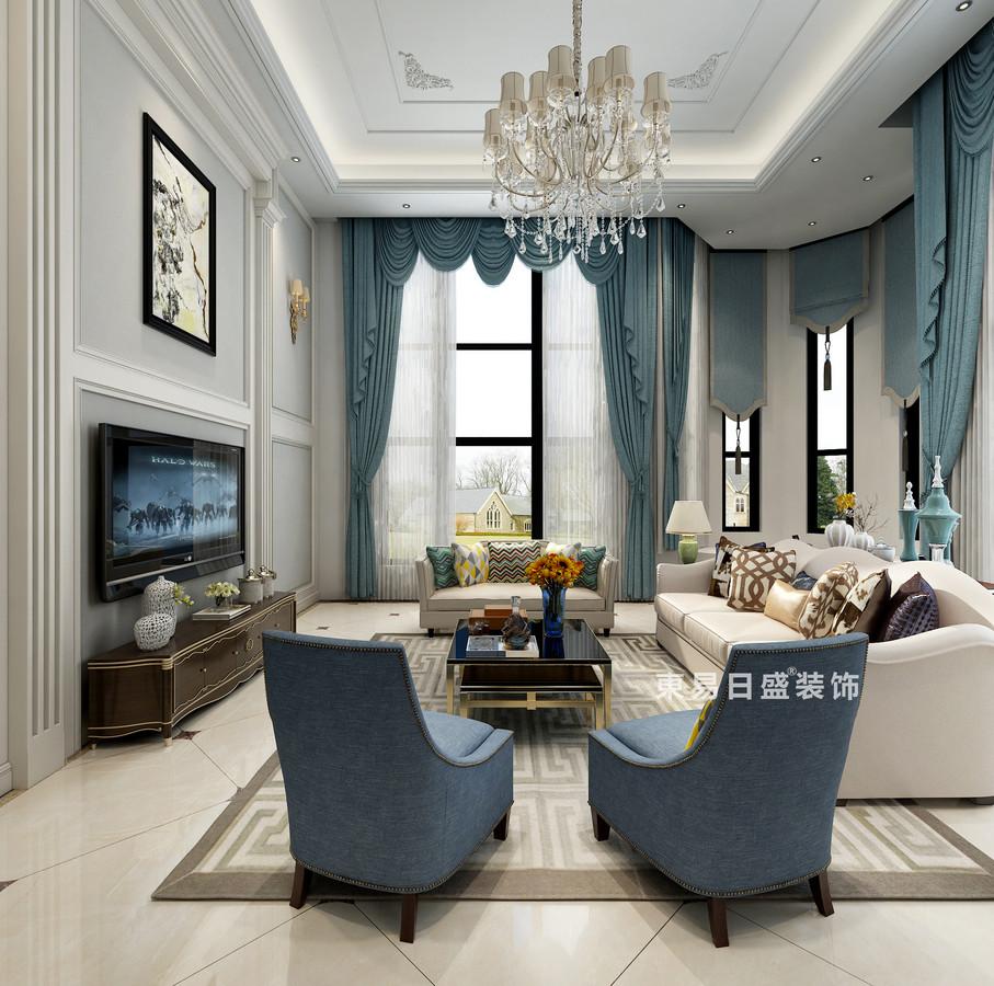 桂林自建別墅518㎡美式風格:客廳裝修設計效果圖