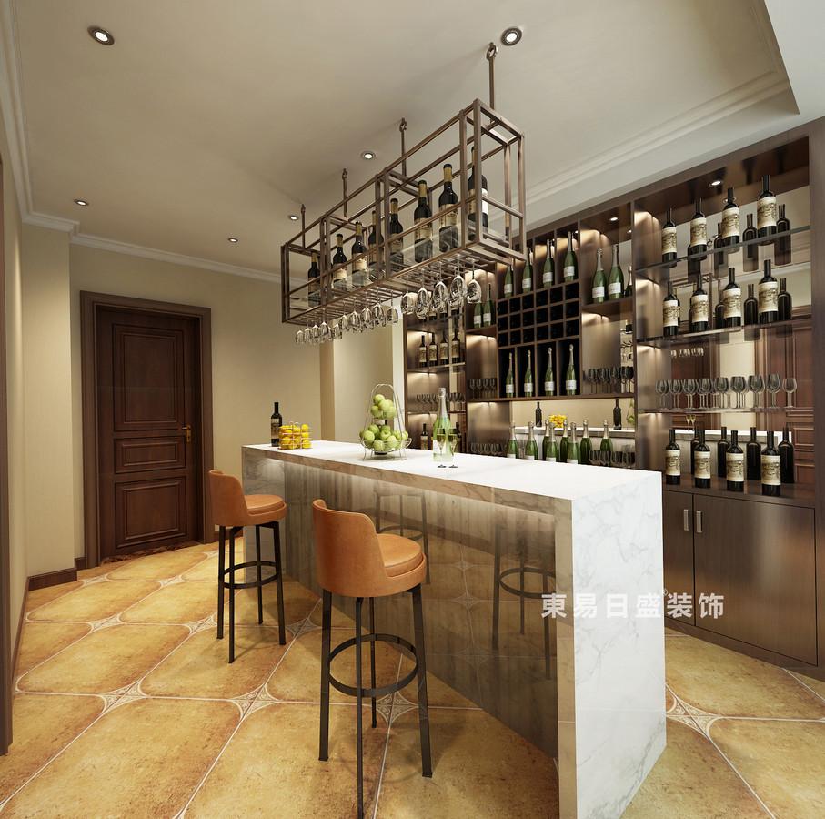 桂林自建别墅518㎡美式风格:酒吧装修设计效果图