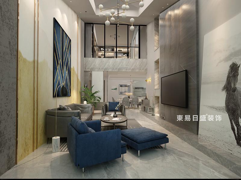 桂林冠泰•水晶城顶层复式楼250㎡现代简约风格:客厅装修设计效果图