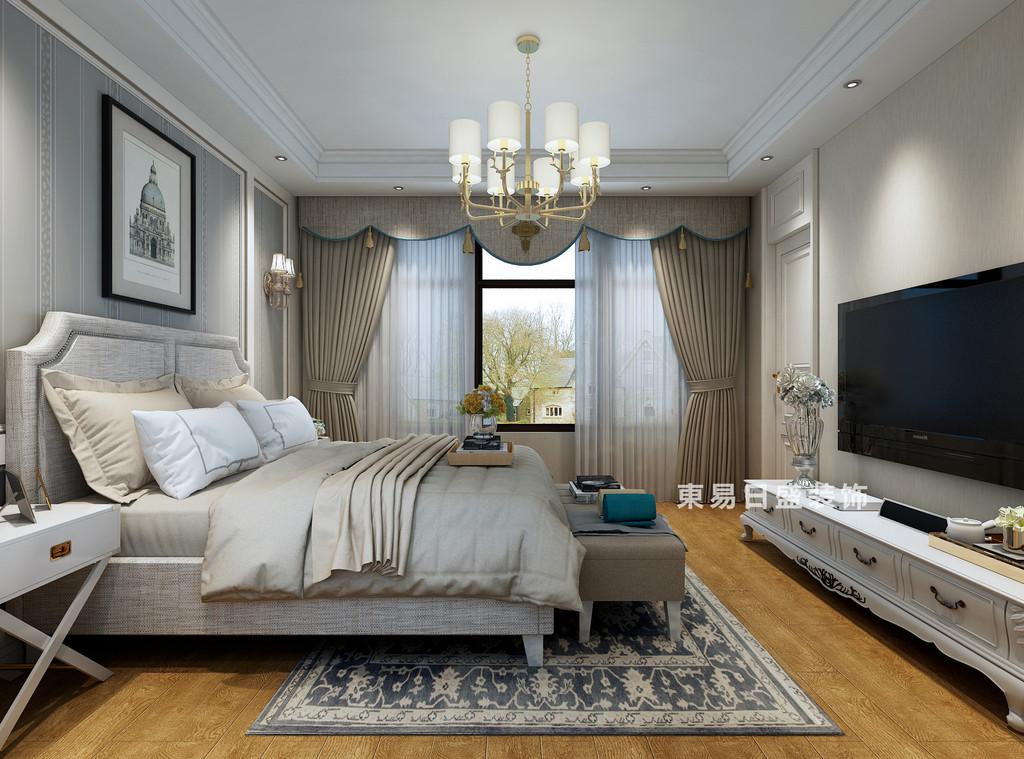桂林自建别墅518㎡美式风格:主卧室装修设计效果图