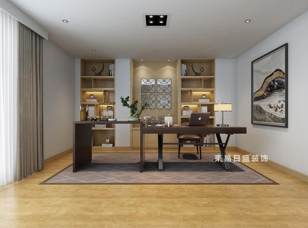 桂林自建别墅518㎡美式风格:书房装修设计效果图