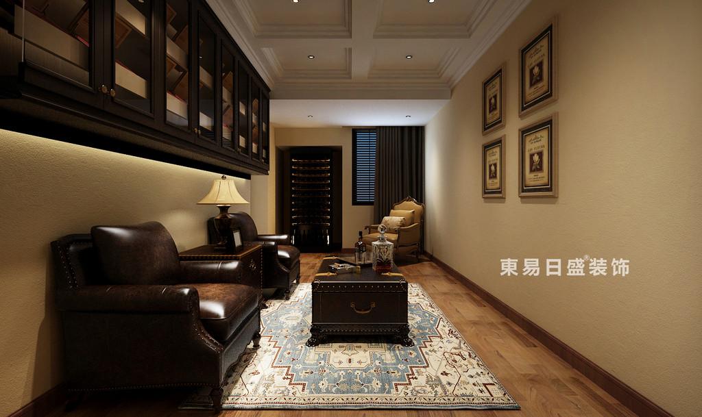 桂林自建別墅518㎡美式風格:雪茄吧裝修設計效果圖